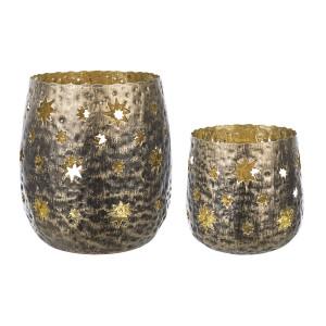 Set 2 candele lumanari din metal Ø11x10h, ø8x7h