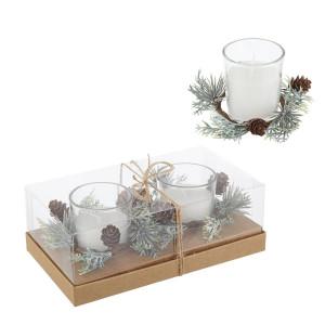 Set 2 lumanari albe parfumate in cutie cadou 19x11x7 cm