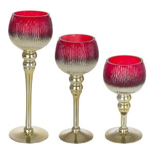 Set 3 suporturi lumanari din sticla aurie rosie Empire Ø10x30h; ø10x25h; ø10x20h