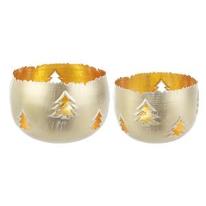 Set 2 suporturi lumanari din metal auriu Ø17x12h; ø14x10h