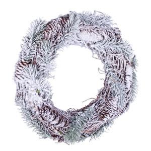 Coronita brad artificial verde conuri si zapada artificiala Baita Ø 35x8 cm