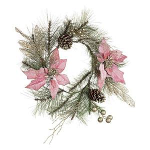 Coronita brad artificial verde si craciunite roz Annabel Ø 40 cm