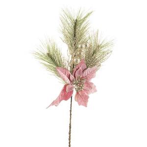 Crenguta brad artificial cu craciunita roz Annabel 30x10x50 cm