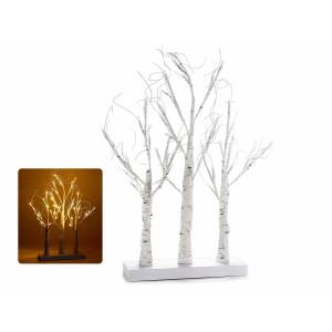 Copac triplu decorativ alb cu led cm 30 x 10 x 65 H