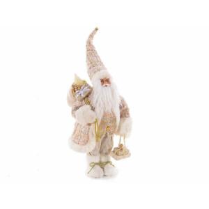 Figurina Mos Craciun din textil alb auriu 24x17x46 cm