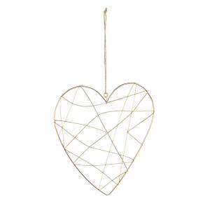 Decoratiune suspendabila din metal auriu model Inima 23x25 cm