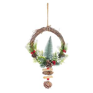 Coronita Craciun din lemn decorata cu brad 23x7x40 cm
