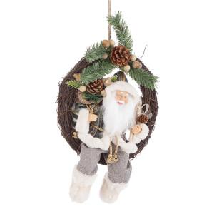 Coronita din lemn decorata cu figurina Mos Craciun 28x12x38 cm