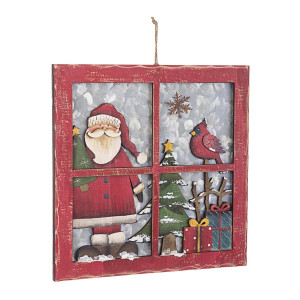 Decoratiune suspendabila din lemn model Mos Craciun 29x2x29 cm
