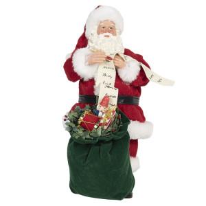 Figurina Mos Craciun din textil rosu alb verde 17 cm x 13 cm x 28 h