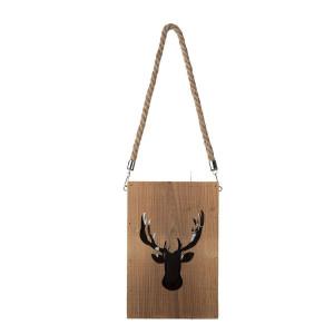 Felinar suspendabil din lemn natur model Ren 16 cm x 16 cm x 24 h