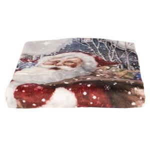 Patura model Mos Craciun din textil pufos 170 cm x 130 cm