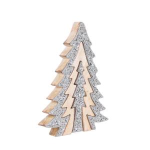 Brad din lemn natur si cristale argintii Kristal 19x3x25 cm
