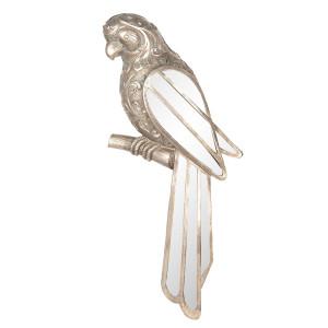 Decoratiune suspendabila pentru perete polirasina argintiu vintage Papagal 30 cm x 4 cm x 13 cm