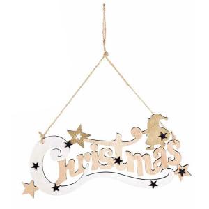 Decoratiune suspendabila din lemn alb natur Christmas 32x14 cm