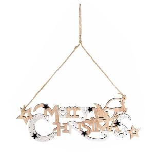 Decoratiune suspendabila din lemn natur alb Merry Christmas 32x14 cm