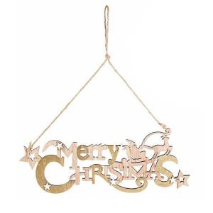 Decoratiune suspendabila din lemn alb natur Merry Christmas 32x14 cm
