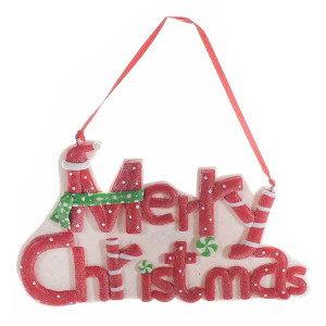 Decoratiune suspendabila din polirasina alba rosie Merry Christmas 17x12 cm