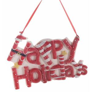 Decoratiune suspendabila din polirasina alba rosie Happy Holidays 17x12 cm