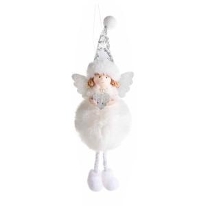 Figurina Inger suspendabil din textil alb 10x6x24 cm