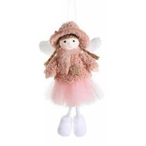 Figurina Inger suspendabil din textil alb maro roz 10x4x18 cm