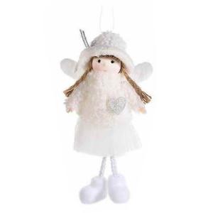 Figurina Inger suspendabil din textil alb 10x4x18 cm