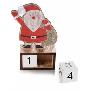 Calendar din lemn model Mos Craciun 9x4x14 cm