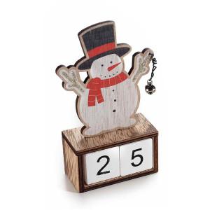 Calendar Craciun din lemn model Om de Zapada 9x4x14 cm