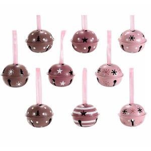 Set 6 clopotei suspendabili din metal maro roz visiniu Ø 5 cm