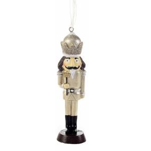 Ornament brad Spargatorul de Nuci din polirasina aurie neagra 5x2x13 cm