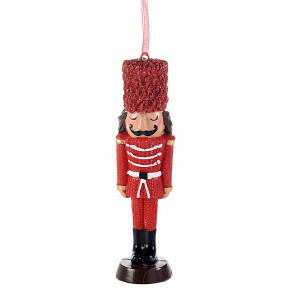 Ornament brad Spargatorul de Nuci din polirasina rosie neagra 5x2x13 cm
