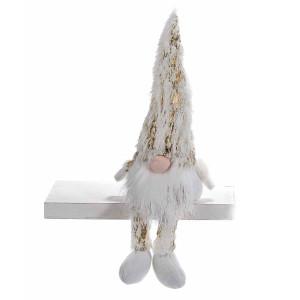 Figurina Mos Craciun din textil alb auriu 9x6x18 cm