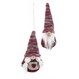 Set 2 ornamente de brad din textil alb visiniu Model Mos Craciun si Craciunita