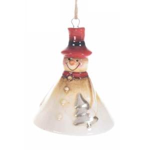 Clopotel suspendabil din ceramica crem rosie model Om de Zapada Ø 7x8 cm