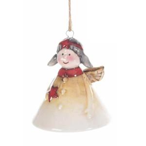 Clopotel suspendabil din ceramica crem rosie model Inger Ø 7x8 cm