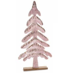 Brad din lemn natur si textil roz cu sclipici auriu 28 cm x 4.5 cm x 57 h
