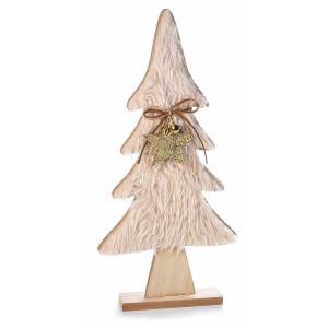 Brad din lemn natur si textil crem 21.5 cm x 5 cm x 44 h