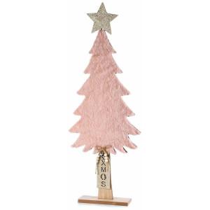 Brad din lemn natur si textil roz 26.5 cm x 7 cm x 70 h
