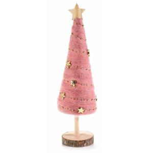 Brad din lemn natur cu textil roz Ø 7.5 x 27.5 h