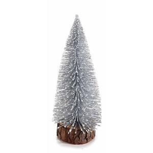 Brad din metal argintiu cu baza din lemn natur Ø 7 cm x 18 h