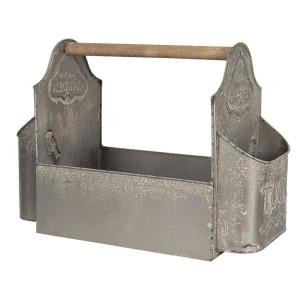 Cutie depozitare unelte de gradina din metal gri 50 cm x 26 cm x 23 h