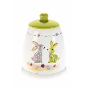 Borcan decorativ Paste model Iepuras ceramica verde alb Ø 12 cm x 15 H