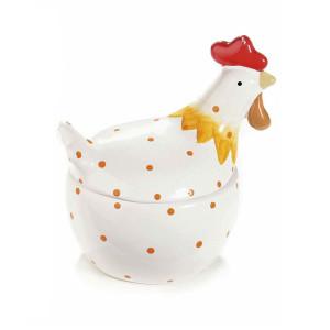 Bol cu capac model Gaina ceramica alb portocaliu 13 cm x 10 cm x 14 h