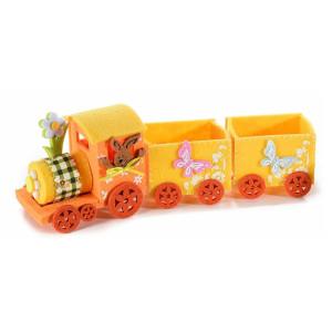 Trenulet decor Iepuras textil portocaliu 27 x 7 cm x 10 h