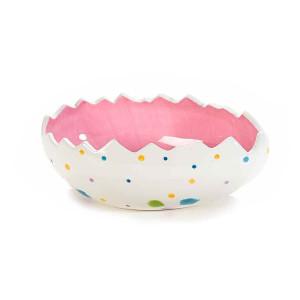 Bol Paste model Ou ceramica alb roz cm 18 x 11 x 7 H
