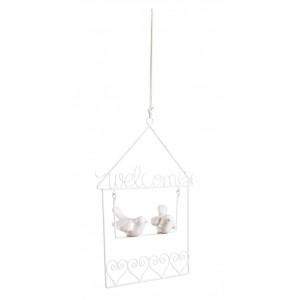 Decoratiune suspendabila metal ceramica alb Bird 15 cm x 19 h