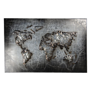 Tablou din metal gri  Harta Lumii 120 cm x 5 cm x 80 h