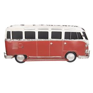 Decoratiune de perete din fier rosu alb antichizat Autobuz 89 cm x 15 cm x 40 h
