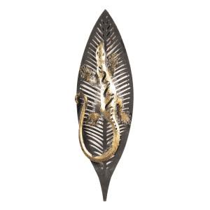 Decoratiune de perete din metal gri auriu 12 cm x 3 cm x 33 h
