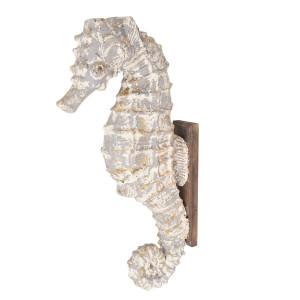 Decoratiune de perete din ceramica gri si lemn maro Calut de Mare 16 cm x 44 cm x 83 h